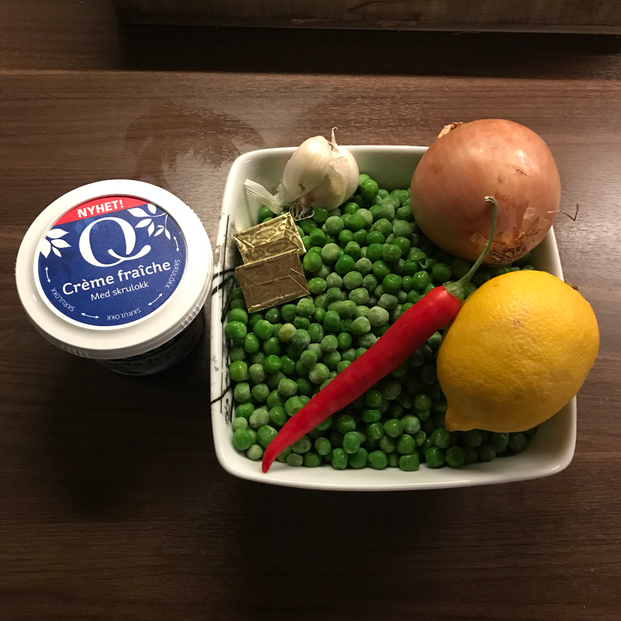 ingredienser til grønn ertesuppe