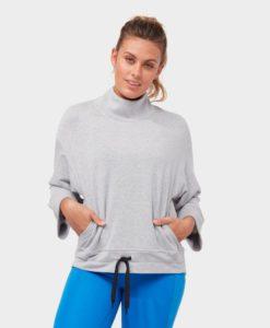 manduka Upward mockneck pullover heathered grey